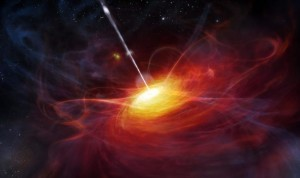 epa02801754 An undated handout file shows a computer generated image of the most distant quasi-stellar radio source (quasar) that a team of European Astrophysics have now discovered. The so-called quasar radiates from the unimaginable distance of 12.9 billion light years away from earth, as British scientists published in the science journal 'Nature'. The light of the galactic nucleus with the scientific name ULAS J1120+0541 was on its way to earth for 12.9 million years upon being visible to us. The Universe is said to be 13.7 billion years old. EPA/ESO /M. Kornmesser / HANDOUT (ATTENTION: HOLDBACKPERIOD 29 June 19:00) HANDOUT EDITORIAL USE ONLY