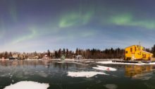 E1WWH7 Giant Mine townsite and Aurora Borealis, Northwest Territories, Canada