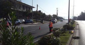 Εργασίες συντήρησης του πρασίνου στη νησίδα της οδού Θεσσαλονίκης από συνεργεία του δήμου Ωραιοκάστρου